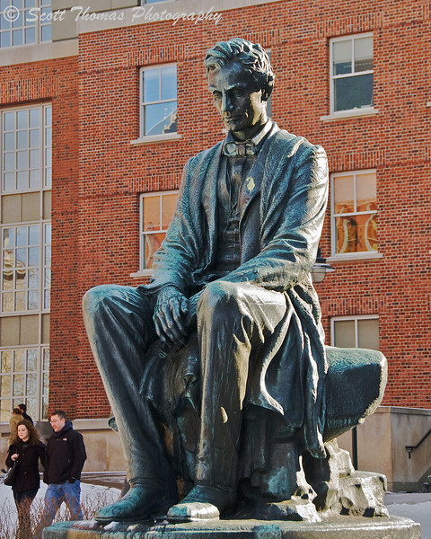 American sculpter James Earle Fraser's bronze cast of Abraham Lincoln was installed in front of Maxwell Hall on the Syracuse University campus--lowered into place by a 50-foot crane in 1968. The statue weighs 2,770 pounds.