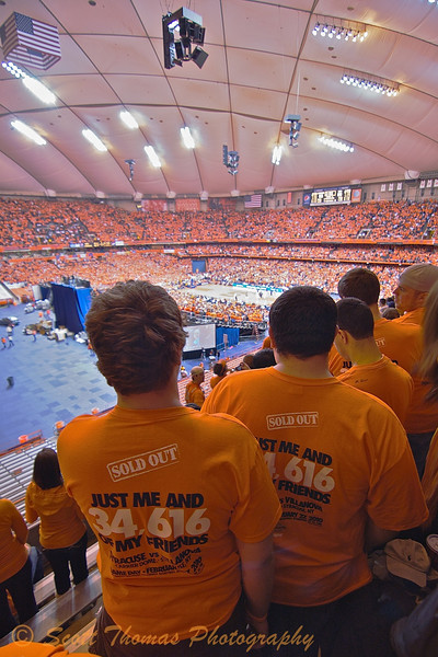 "Thousands of these ""Just me and 34,616 of my friends"" t-shirts were sold in advance of the Syracuse-Villanova Big East basketball game held on Saturday, February 27, 2010 in the Carrier Dome on the Syracuse University campus in Syracuse, New York."