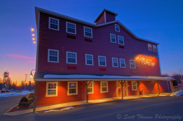 The Red Mill Inn of Baldwinsville, New York, at sunset.