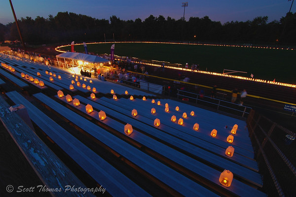 2010 Baldwinsville Relay for Life Luminary ceremony from the bleachers.  The bleacher luminaries spell out the word, Hope.