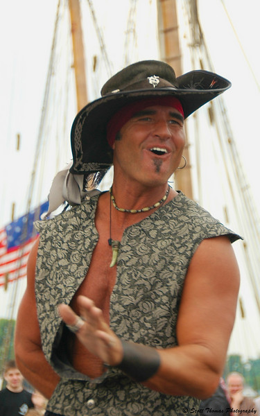 A pirate entertaining the crowd at the Festival of Sail in Oswego, New York.