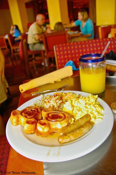 Mickey Waffles served at the Maya Grill in the Coronado Springs Resort, Walt Disney World, Orlando, Florida.