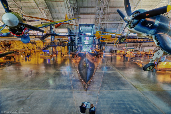Overlooking a Lockheed SR-71A Blackbird in the Boeing Aviation Hanger of the Steven F. Udvar-Hazy Center in Chantilly, Virginia.