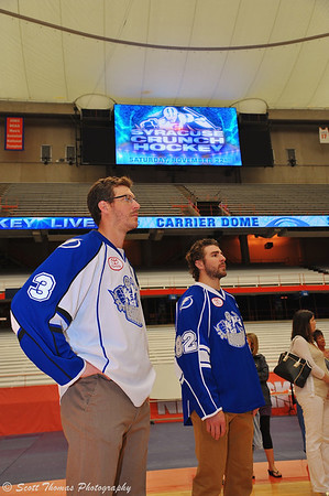 Crunch players Joey Mormina (3) and Luke Witkowski (82) at the Syracuse Crunch Press Conference announcing the Frozen Dome Classic at the Carrier Dome on the Syracuse University campus in Syracuse, New York.
