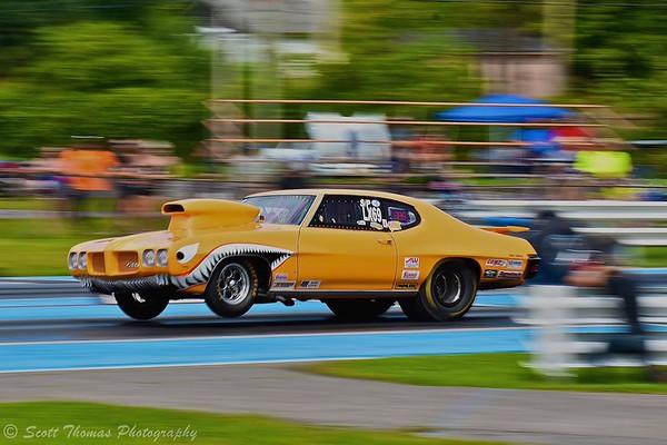 The Sharknado Pontiac GTO racing at ESTA Safety Park Dragstrip near Cicero, New York.