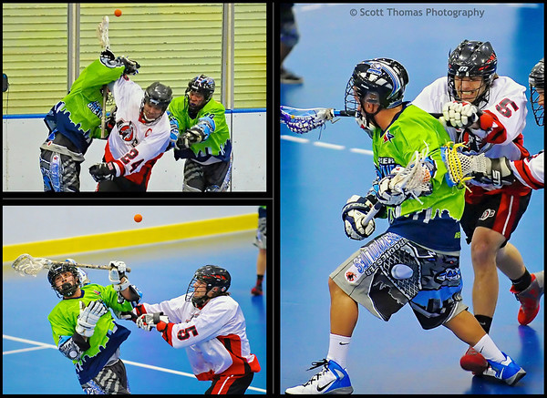 "Rough action in the Can-Am Senior ""B"" Box Lacrosse game between the Onondaga Redhawks and Rochester Greywolves at the Onondaga Nation Arena near Nedrow, New York."