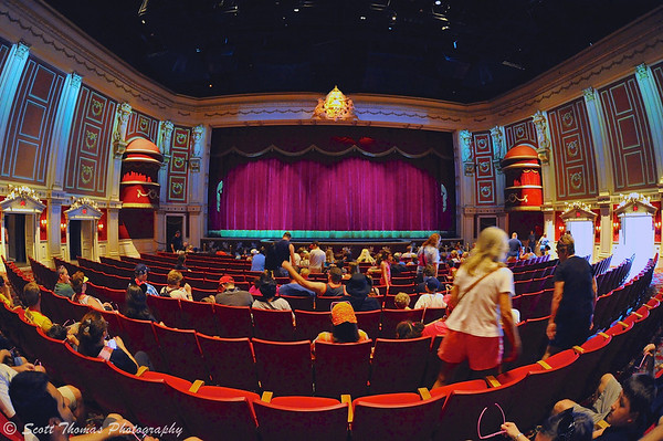 Guests take their seats in the Muppet Vision 3-D theater before a performance in Disney's Hollywood Studios.