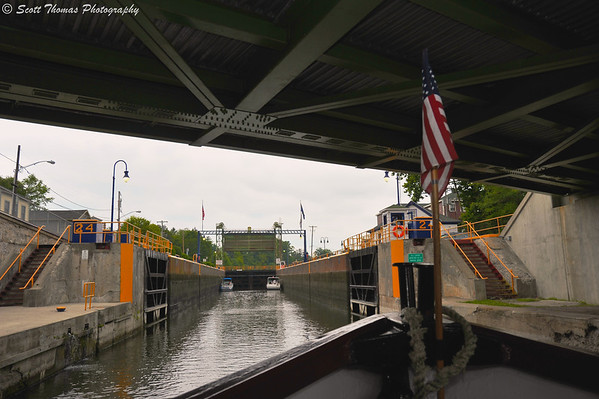 The Emita II about to enter Lock 24 in Baldwinsville, New York.