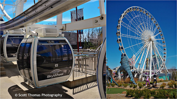 Niagara Skywheel gondolas hold up to 8 people and are climate controlled (left). The Skywheel is 175 feet (53m) tall and rises above the Dinosaur Park Miniature Golf in Niagara Falls, Ontario, Canada.