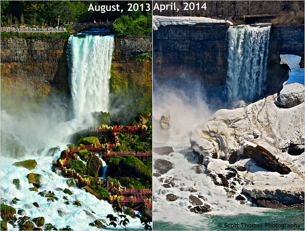 Bridal Veil Falls from the Canadian city of Niagara Falls. Photos taken eight months apart.