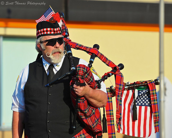 Piper for the Syracuse Highland Pipe Band during the 2013 Memorial Day Parade held on May 30, 2013 in Baldwinsville, New York.