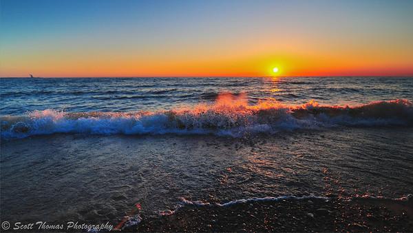 Beautiful sunset over the 'beautiful lake' of Lake Ontario.