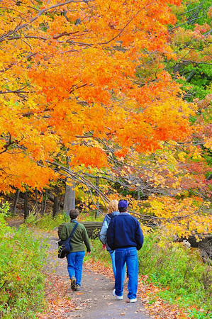 Barbara (on the left) and Debbie (on the right) with her husband following on the Beebe Lake nature trail at Cornell University in Ithaca, New York.