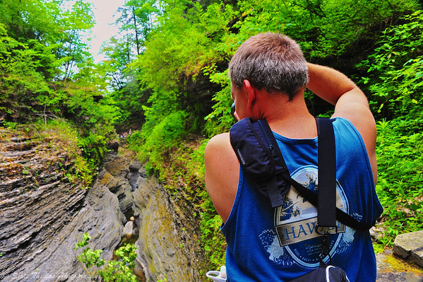 Dave stops to photograph one of the beautiful sights along the Gorge Trail in Watkins Glen State Park, Watkins Glen, New York.