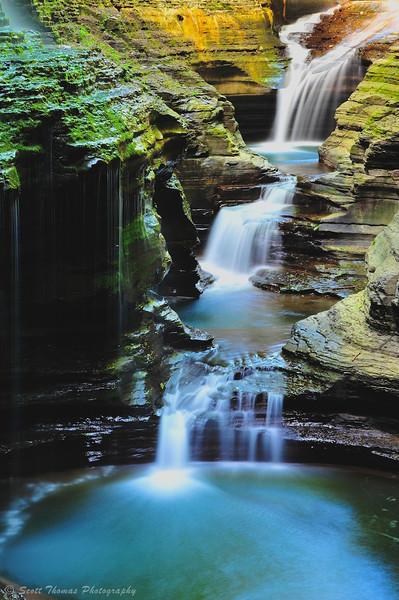 Long exposure of a waterfall along the Gorge trail in Watkins Glen State Park, Watkins Glen, New York.