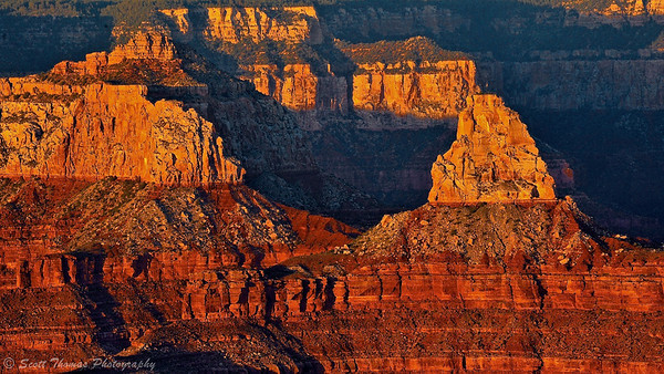 Sunset light baths the canyon as seen from Yavapai Point at Grand Canyon National Park in Arizona.