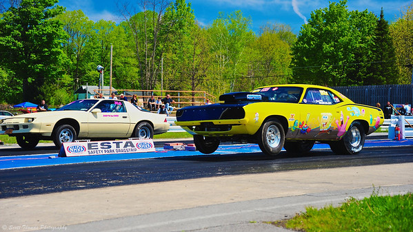 The popular SpongeBob SquarePants yellow Barracuda at ESTA Safety Park Dragstrip in Cicero, New York.
