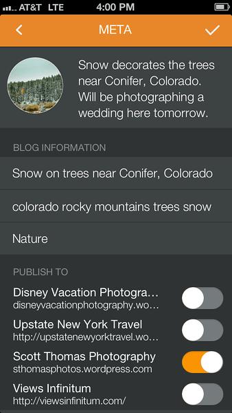Pressgram Meta screen on an Apple iPhone 5.