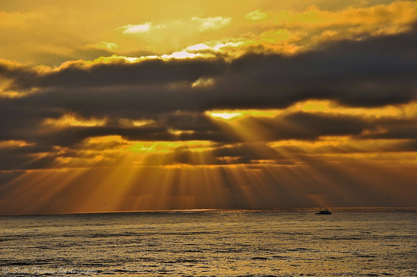 Sunbeams on the horizon from Ocean Beach near San Diego, California