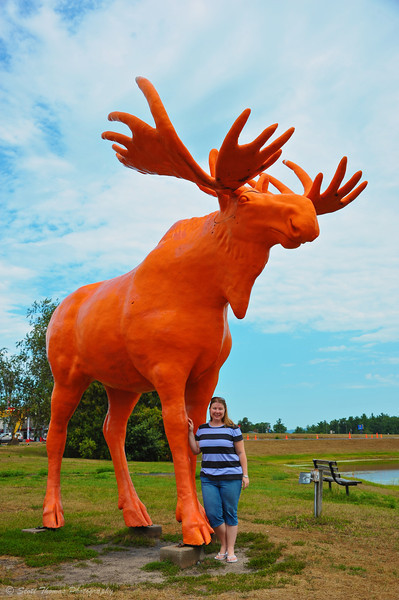 Krystal next to the Orange Moose at the Black River Falls I-94 exit in Wisconsin.