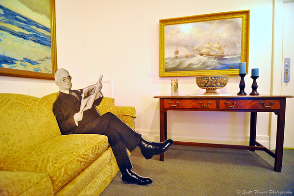 A photo cutout of George Eastman sits in the Reading Room of the his house in Rochester, New York.