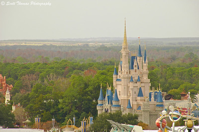 Original photo edit of Cinderella Castle in the Magic Kingdom, Walt Disney World, Orlando, Florida.
