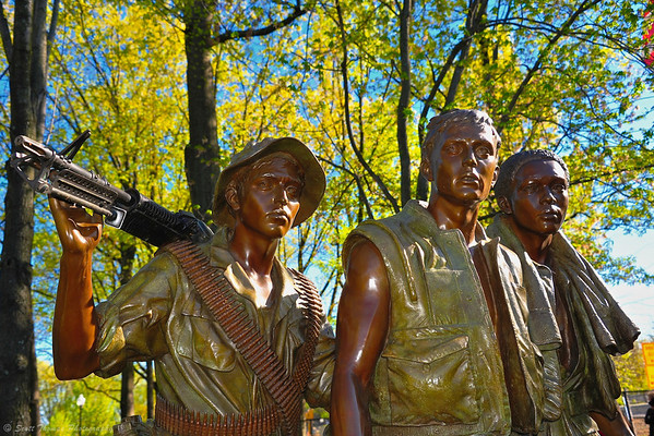 The Three Soldiers bronze statue at the Vietnam Veterans Memorial on the National Mall in Washington, DC.