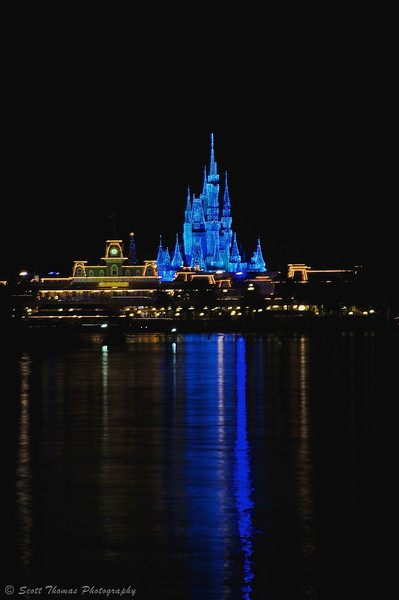 Cinderella Castle in the Magic Kingdom at Walt Disney World decked out in dream light.