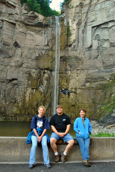 Bloggers Debbie of My Life in CNY, Scott of Views Infinitum and Barbara of The Aspiring Photographer at Taughannock Falls State Park near Ithaca, New York.  Photo by Debbie.