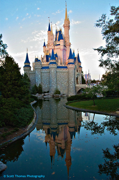 The classic Cinderella Castle photo in the Magic Kingdom at Walt Disney World, Orlando, Florida.