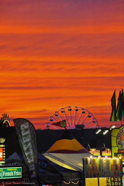 Sunset at the Great New York State Fair in Syracuse, New York.