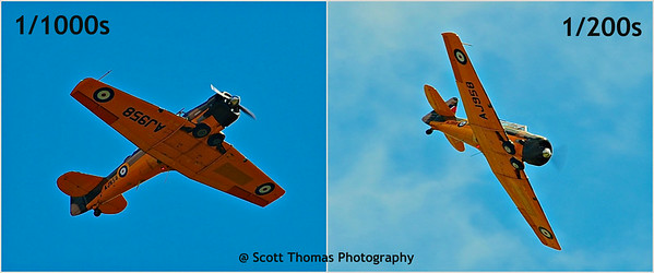 When shooting propeller or prop airplanes, you need to slow down the shutter or the prop is frozen (left).  When the shutter is slowed down, the prop show motion and looks like a moving plane.