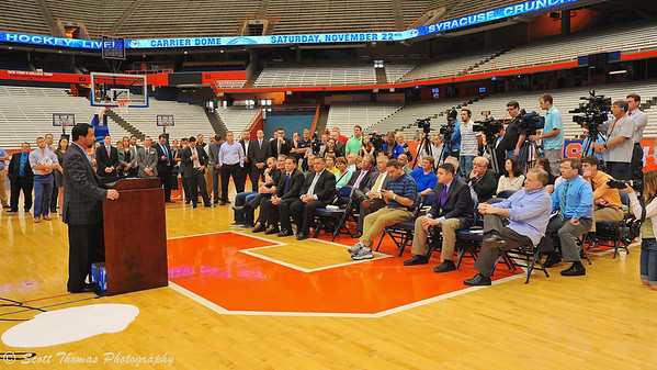Syracuse Crunch owner Howard Dolgon addresses fans, guests and local media at the press conference announcing the Frozen Dome Classic at the Carrier Dome on the Syracuse University campus in Syracuse, New York.