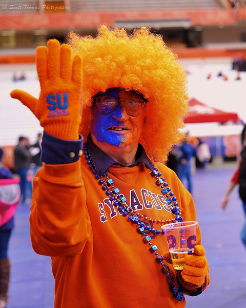Syracuse University Basketball fan before a game at the Carrier Dome in Syracuse, New York.