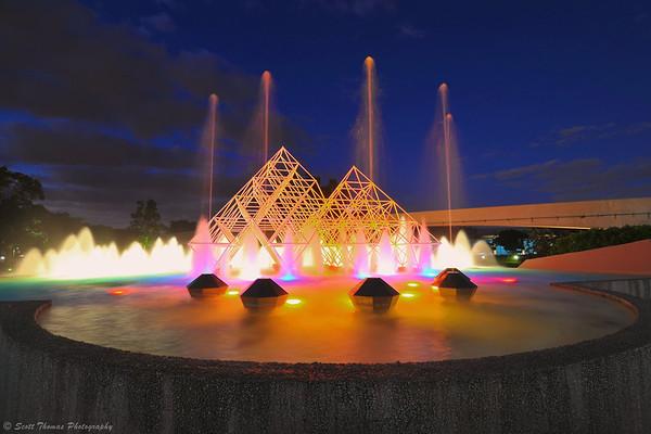 Water fountain in the Journey into Imagination plaza at dusk in Epcot's Future World, Walt Disney World, Orlando, Florida.