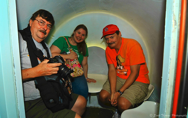 Flickr friend Steve (with camera), my daughter Krystal and Steve's brother, Tom, inside a Gateway Arch Tram Pod at the Jefferson National Expansion Memorial in St. Louis, Missouri.