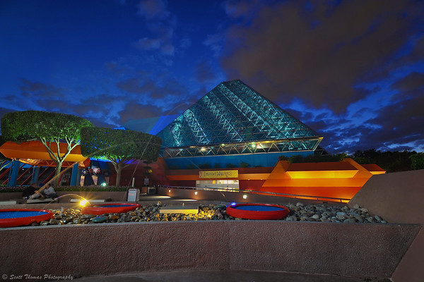 Journey into Imagination pavilion at dusk in Epcot's Future World, Walt Disney World, Orlando, Florida.