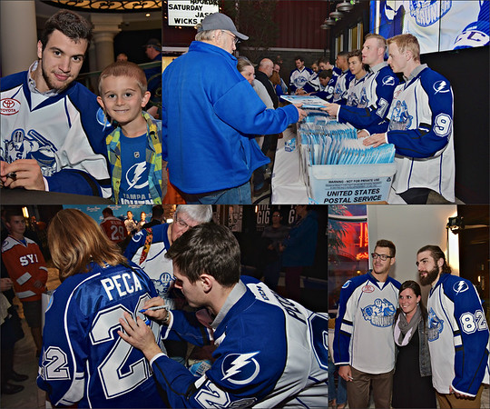 Fans of the Syracuse Crunch getting photos with team members, autographs and even getting their season tickets from players at the annual Welcome to Town event on Wednesday, October 14, 2015 at the Turning Stone Resort Casino near Verona, New York.
