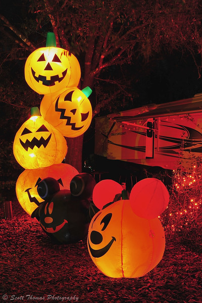 Disney style Halloween decorations at a campsite in the Fort Wilderness Resort and Campground, Walt Disney World, Orlando, Florida.