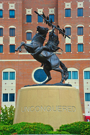 The Unconquered statue in front of the Doak Campbell Stadium on the Florida State University campus in Tallahassee.