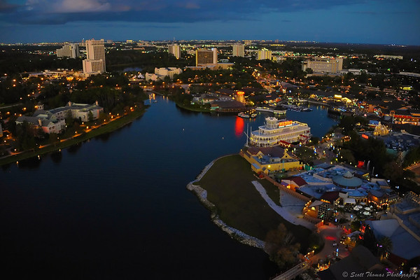 View from Characters in Flight balloon of Downtown Disney and surrounding hotels.