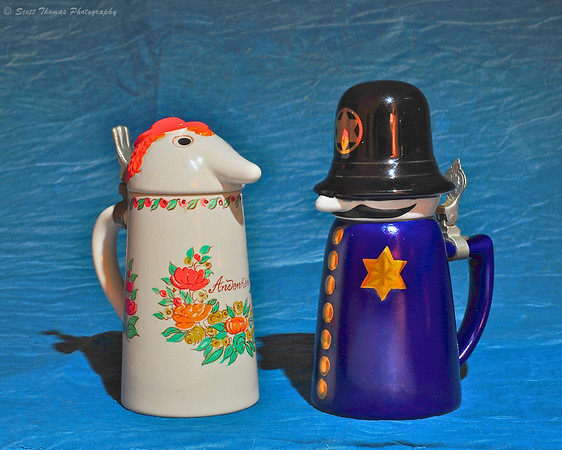 Countess and Officer Sudds collectible beer steins made for WEBCO by Brazilian stein maker, Ceramarte.