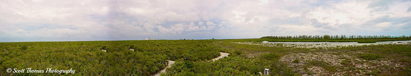 Panoramic view from the top of Lookout Tower on Castaway Cay in the Bahamas.