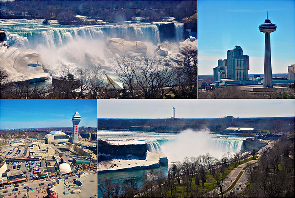 From top left: American Falls, Skylon Tower and Fallsview Casino Resort, Horseshoe Falls and Clifton Hill attractions and Casino Niagara as seen from the Niagara Skywheel in Niagara Falls, Ontario, Canada.