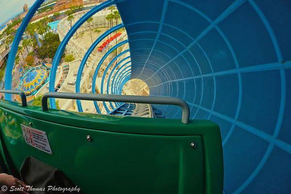 Riding California Screamin at Disney's California Adventure in Anaheim, California.