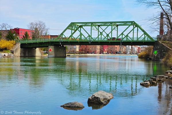 The steel truss Bridge Street bridge spanning the Seneca River in Seneca Falls, New York.
