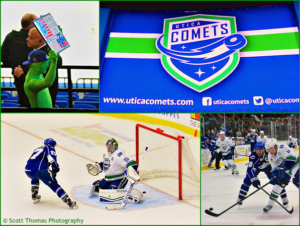 Photos from the October 26, 2013 game between the Syracuse Crunch and Utica Comets in the Utica Memorial Auditorium in Utica, New York.