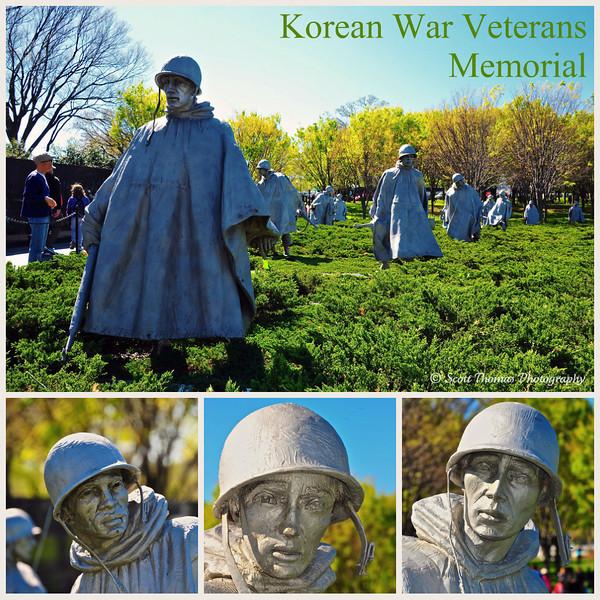 Faces of the Korean War Veterans Memorial in Washington, DC.
