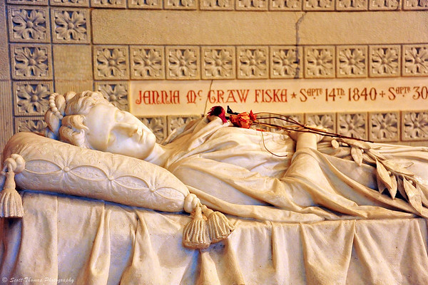 The sarcophagus of Jennie McGraw Fiska inside the Sage Chapel on the Cornell University campus in Ithaca, New York.