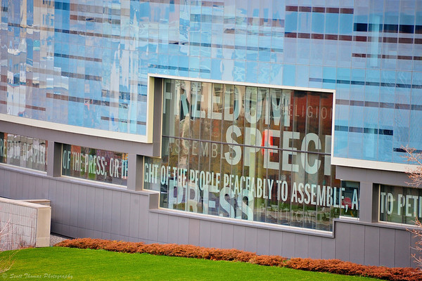 """Liberty Wrap"" features the words of the First Amendment etched in six-foot high letters on the glass wrapping the Newhouse Communications Center III building on the Syracuse University campus in Syracuse, New York."